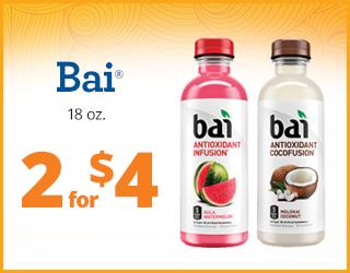 Bai 16oz 2 for $4