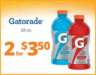 Gatorade 28oz 2 for $3.50