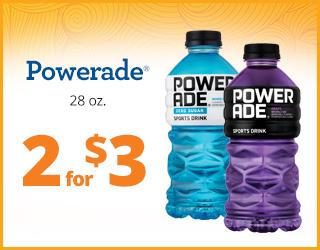 Powerade 28oz 2 for $3
