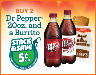Dr. Pepper 20oz and Burrito - Buy 2, Save 5¢