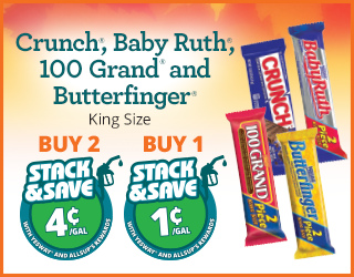 Crunch/Baby Ruth/100 Grand/Butterfinger - Buy 2, Save 4¢;Buy 1, Save 1¢